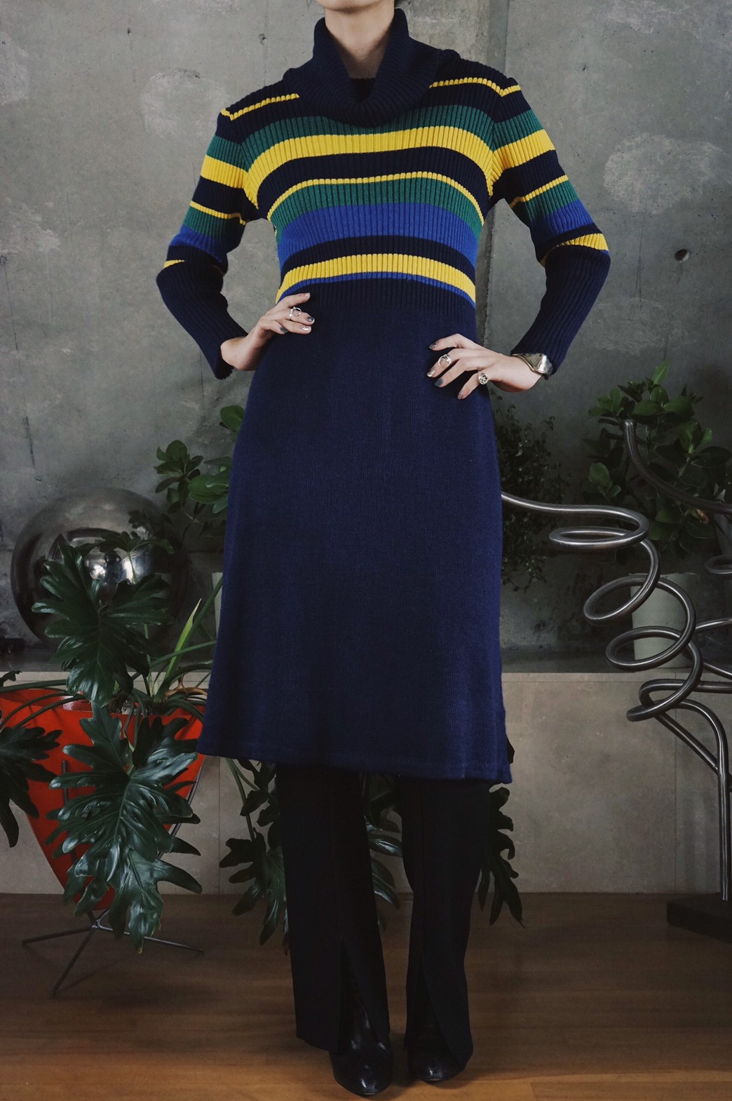 Multi border rib knit dress