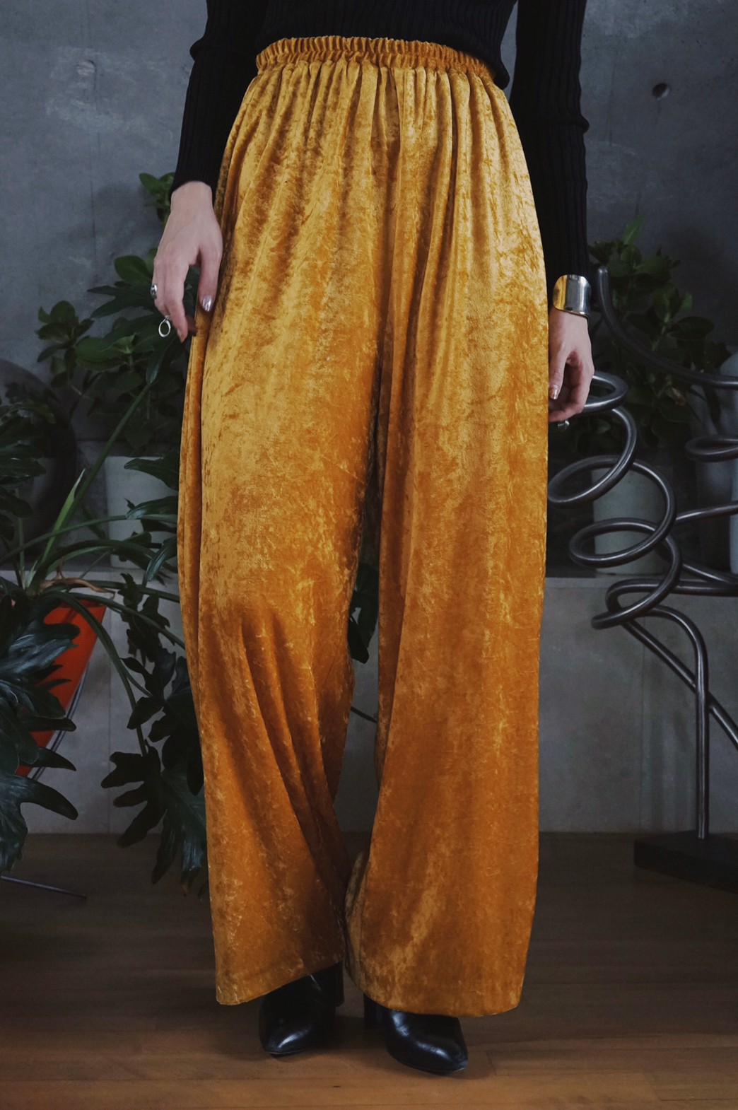 Velour easy pants / Mustard