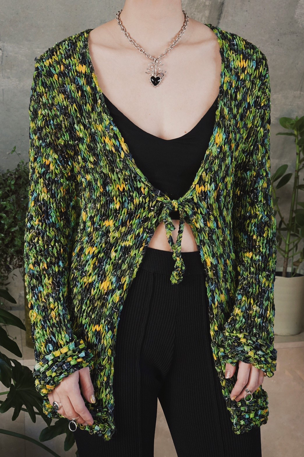 Melange knit cardigan / Green tone