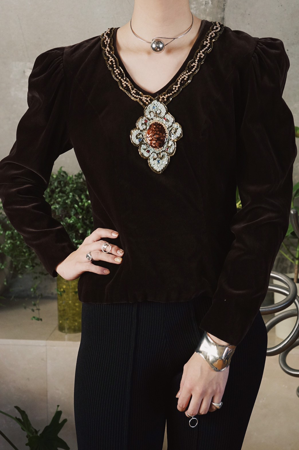 Cloisonne motif velvet blouse / Brown