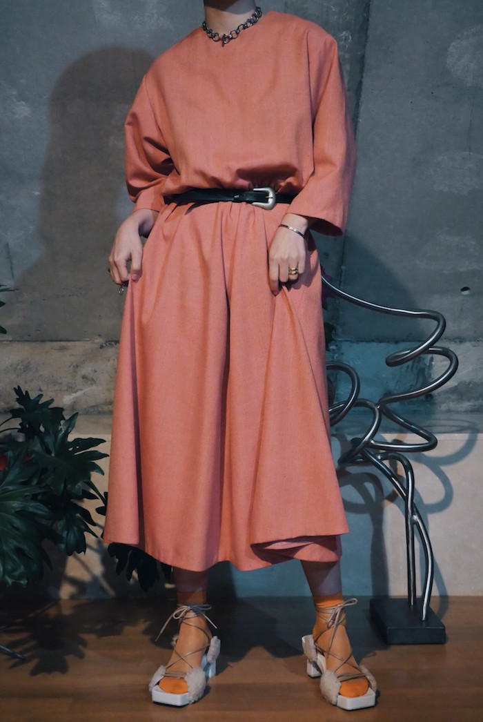 Round neck flare dress / Coral